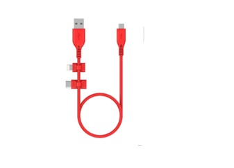 3-in-1 Cable, Lightning/Type C/Micro USB Cable - Red Color